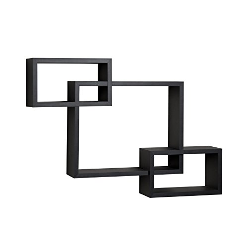 Danya B. YU008BK Floating Squares Shelving Unit - Wall Mount Intersecting 3-Box Wall Shelf - Black