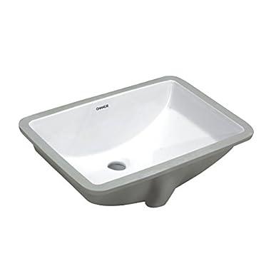 Changie Bathroom Ceramic Sink Rectangular Lavatory Undercounter 1612W,White,18x12 inches