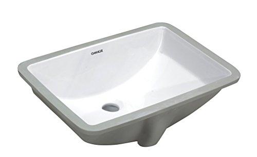 (CHANGIE 1612W Bathroom Ceramic Sink Rectangular Lavatory Undercounter,White,18x12 inches)