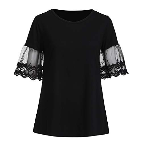 (Iusun Women's Maternity Plus Size Tops Mom Nursing Lace Mesh Short Sleeve T-Shirt Breastfeeding Blouse Pregnants Clothes Daily Wearing)