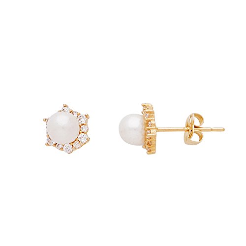 Real 14K Yellow Gold CZ Sun Shapped Stud Earrings with 4.0mm Fresh Water Pearl Center for Women and Girls