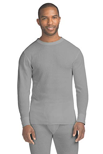 Hanes Men's Waffle Knit Thermal Crew Neck Long Sleeve T-Shirt with FreshIQ, X-Temp Technology & Organic Cotton Heather ()