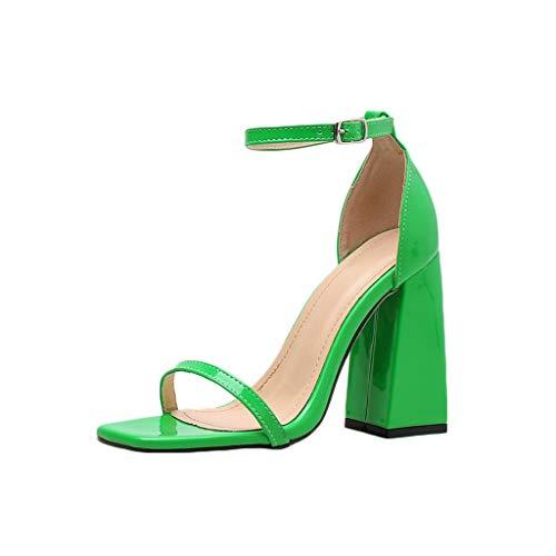 (MmNote Women Shoes, Womens Single Band Hundreds Classic Chunky Block High Heel Pump Sandals Shoes Green)