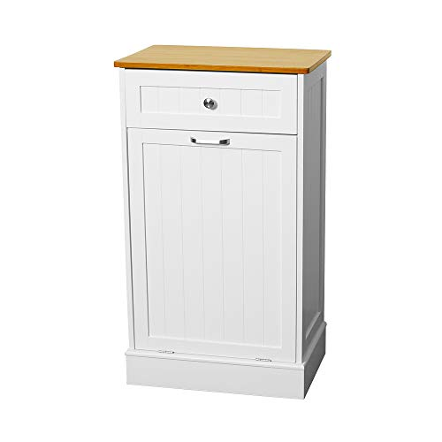 U-Eway Wooden Tilt Out Trash Cabinet Free Standing Kitchen