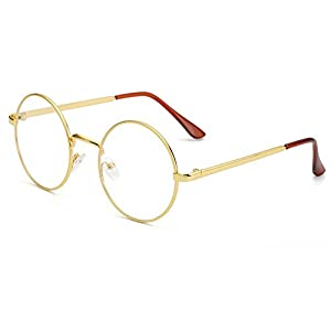 Bonvince Non-Prescription Round Circle Frame Clear Lens Glasses Gold/Clear