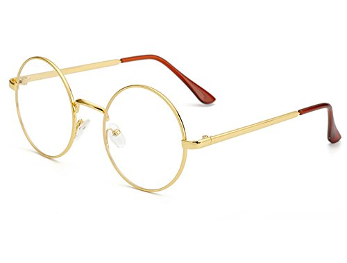Bonvince Non-Prescription Round Circle Frame Clear Lens Glasses - Prescription Glasses Gold
