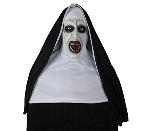 Kigcos The Nun Devil Valak Mask Deluxe Latex Scary Full Head Halloween Masks (Full Coverage) Black ()