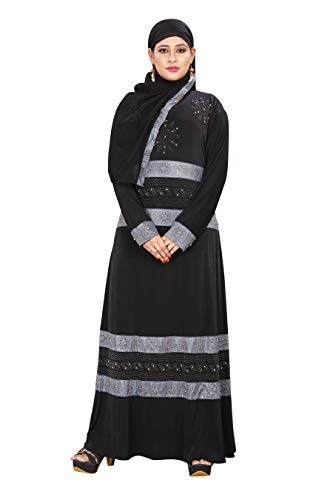 ZEENAT FAB BURKHA ABAYA STYLE IN LYCRA WITH SILVER DAIMOND WORK