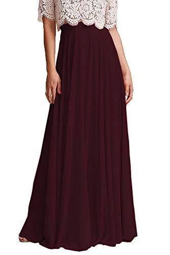 Omelas Women Long Floor Length Chiffon High Waist Skirt Maxi Bridesmaid Party Dress (Burgundy, XL)