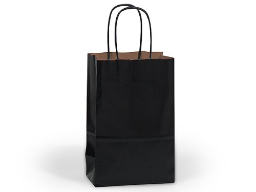Pack Of 250, Black Recycled Kraft Paper Shopping Bags W/Serrated Edge Tops & Sturdy Paper Twisted Handles - Rose 5.5 X 3.25 X 8.5'' Solid Made In USA by Generic