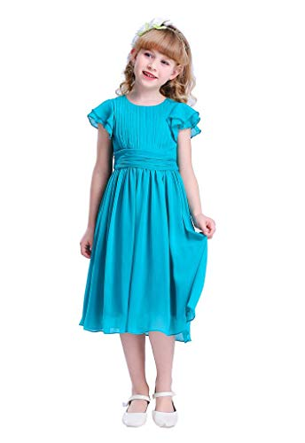 Happy Rose Flower Girl's Dress Prom Party Dresses Bridesmaid Dress Peacock Blue 12 -