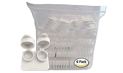 Amcon Contact Lenses Cases Flat Ribbed Extra Deep Well - White, 6 Pack from Amcon labs