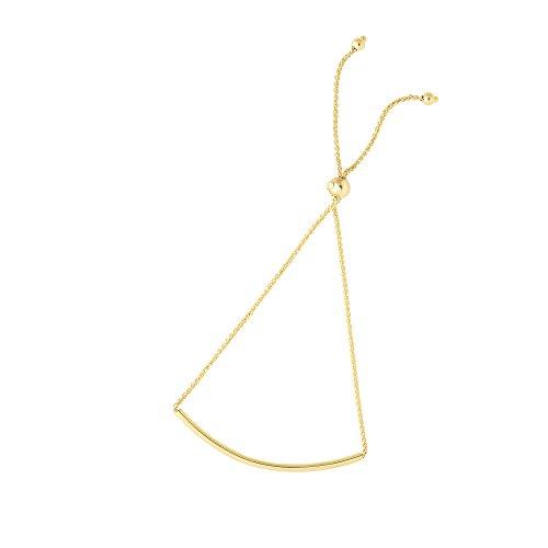MCS Jewelry 14 Karat Yellow OR White Gold Rolo Bar Bracelet (Adjustable Length: 9 1/4) (yellow-gold)