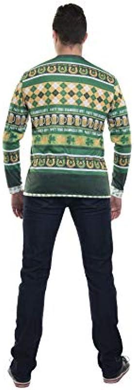 FauxReal Męskie St. Paddy's Day Cardigan Tee Hemd: Odzież
