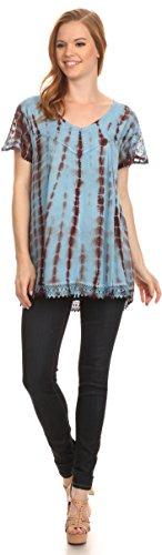 Goutte Dye Longue Blouse Manches Casquette Neck Spala Tie Shirt Bleu Ciel Sakkas V Brode Top qH1Af0