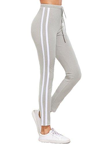 (SweatyRocks Women's Striped Side Yoga Workout Leggings Drawstring Sweatpants Light Grey S)