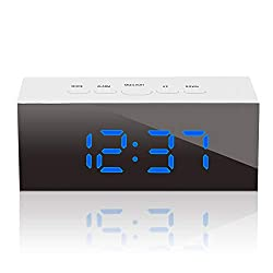 GLOUE Led Digital Alarm Clock, Alarm Clocks Bedside, Temperature Display, Snooze and Large Display, Adjustable Brightness, USB Port and Battery Back Up, Bedroom Mirror Travel Alarm (Blue Light)
