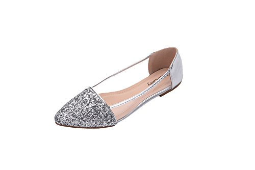 Mila Lady Mavis Fashion New Sparkling Embellish Glitter Slip Loafer Ballet Flat Shoes. ()