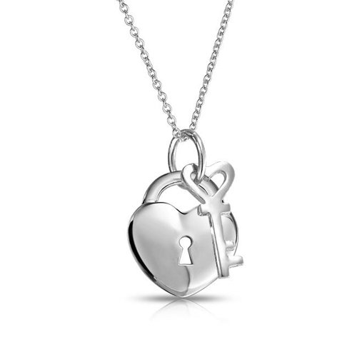 Simple 2 Charm Love Lock And Key Heart Pendant Necklace For Women For Teen 925 Sterling Silver 16 Inch ()