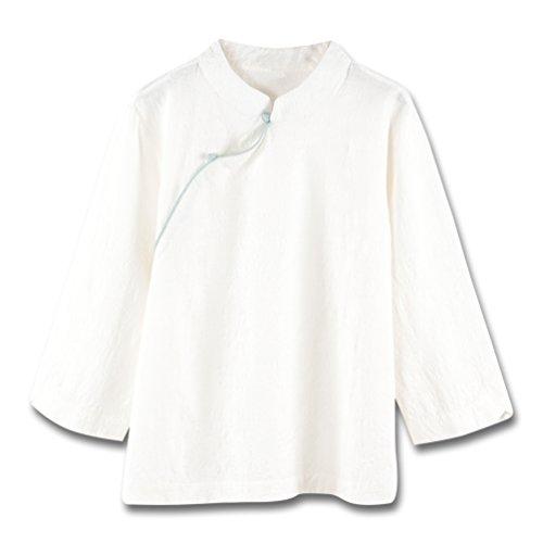 長さ程度責Hongma チャイナ トップス レディース 七分袖 ブラウス 快適 生地(綿100%) ゆったり お茶服 L 全2色