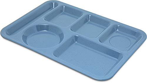 "Carlisle 4398192 Left-Hand Heavy Weight 6-Compartment Cafeteria / Fast Food Tray, 10"" x 14"", Sandshade (Pack of 12) (Renewed)"