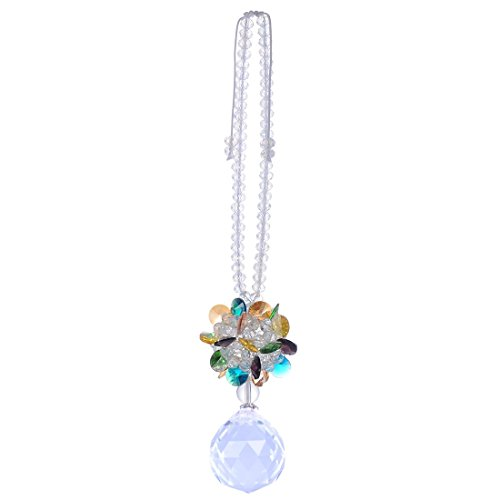 H&D Rear View Mirror Car Charm Ornament Suncatcher Crystal Prism Fengshui Blessing Safe Journey (Colorful)