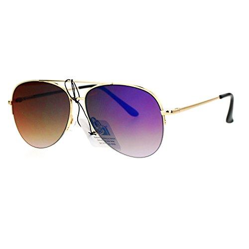 SA106 Flat mirrored Mirror Lens Half Rim Aviator Sunglasses Gold - Sunglasses Gold Aviator Rim