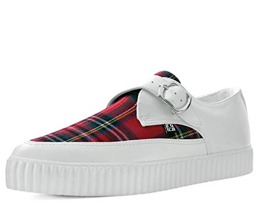 Red Plaid Creeper Shoe - T.U.K. Shoes A9419 Unisex-Adult Creepers, White & Plaid Pointed Buckle EZC - US: Men 12 / Women 14 / White/Red/Synthetic