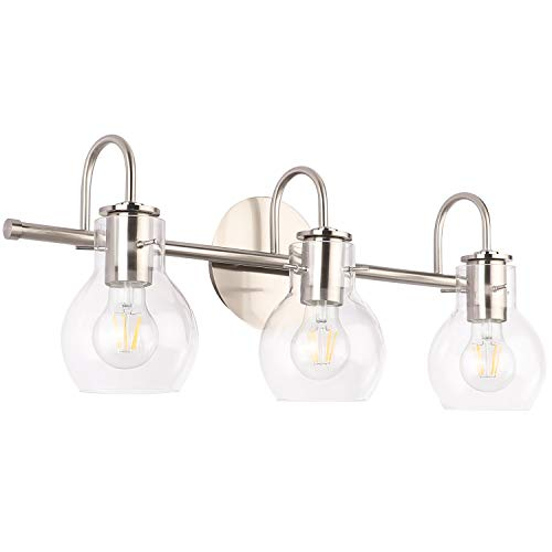 SOLFART Brushed Nickel Bathroom Lighting Fixtures Over Mirror Modern Glass Shade Vanity -