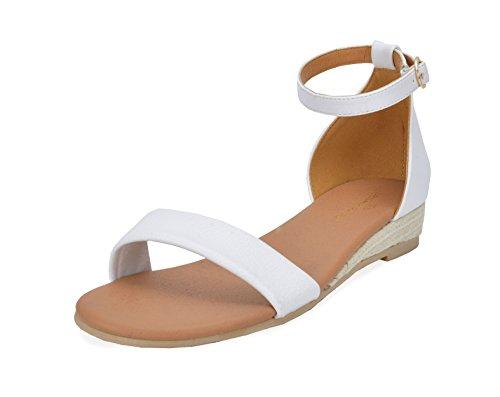 Dröm Par Kvinna Formosa_10 Låga Flak Kilar Fotled Rem Sandaler 10-vit