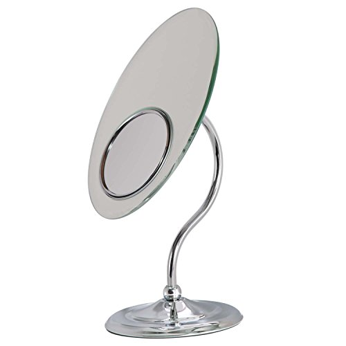 - Zadro Oval Tri-Optics Beveled Pedestal Mirror, Chrome