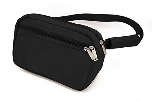 DayMakers BeSafeBags HipSafe Anti-Theft Security Waist Pack w/Organizer, Medium, Black Microfiber