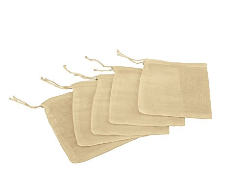 Natural Muslin Drawstring Bags 3' x 4' | Small Ivory, Light Tan Muslin Bags for Party Favors, Baked Treats & Gifts | Safe, Non-Toxic, 100% Cotton Woven Bags w/ Drawstring Closure (Pack of 100)