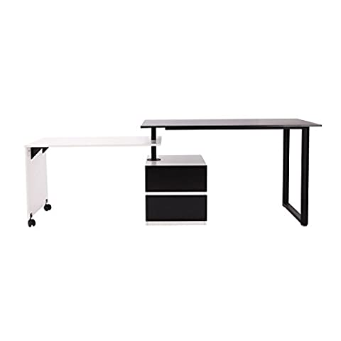 Black and White Sofa Console Table Swivel Wooden Workstation - Mirrored Set China Cabinet