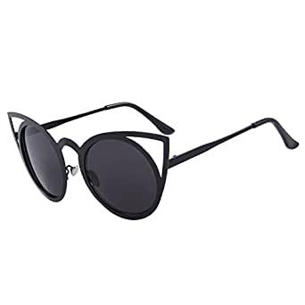 Amazon.com: MERRY'S Cat Eye Sunglasses Round Metal Cut-Out