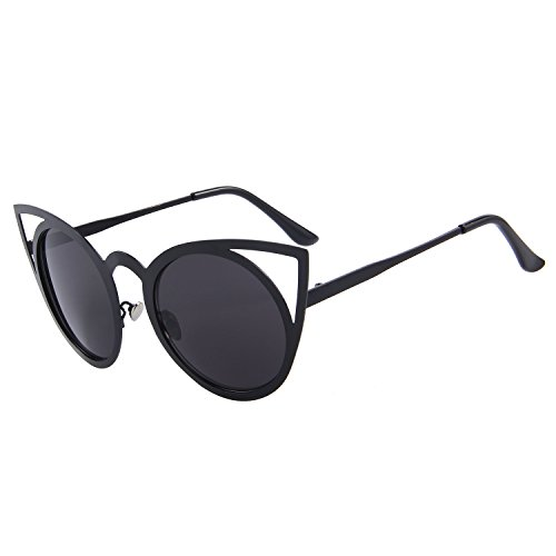 MERRY'S Cat Eye Sunglasses Round Metal Cut-Out Flash Mirror Lens Metal Frame Sun glasses S8064 (Black, - Cateye Sunglasses Black