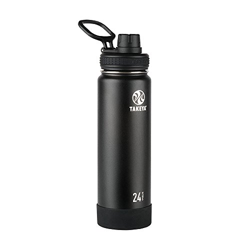 (Takeya Actives Insulated Stainless Water Bottle with Insulated Spout Lid, 24oz, Onyx)