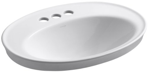 Centers China Vitreous 8 - Kohler 2075-4-0 Vitreous china Drop-In Oval Bathroom Sink, 23.5 x 15 x 21.68 inches, White