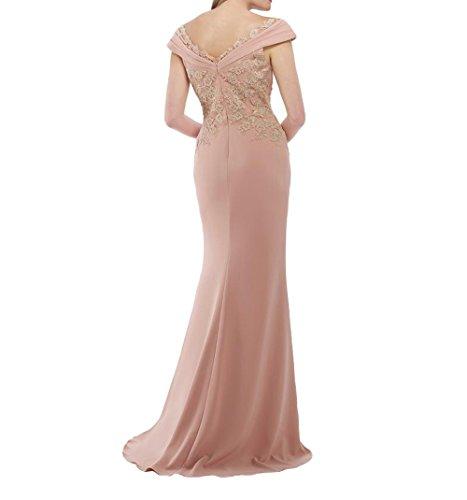 Partykleider Etuikleider Langes La Pink Spitze Abendkleider mit Abschlussballkleider Applikation Promkleider Brau Chiffon mia w88q4EXT