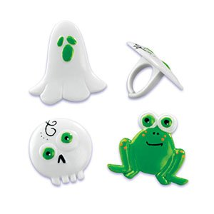 CLEARANCE FREE STANDARD SHIPPING - Halloween Ghost Skull Frog Rings Cupcake Toppers - Pack of 24 - We Ship Within 1 Business Day!