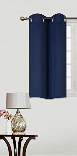 GorgeousHomeLinen (K30) 1 PC 30″ X 36″ Kitchen Window Tier Curtain Panel Unlined Thermal Heavy Thick Insulated Blackout in Assorted Solid Colors (NAVY BLUE)