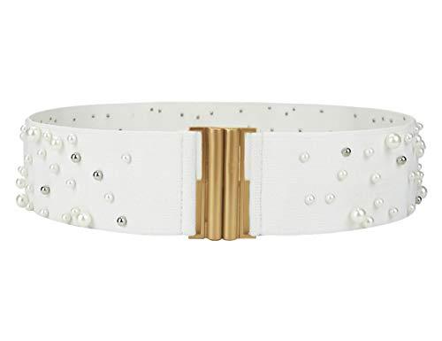 Maikun Belt Wide Elastic Vintage Plus Stretchy Cinch Waist Pearl Decoration