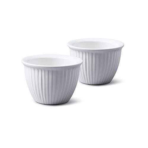 WM Bartleet & Sons 1750 TSET39 Set of 2 Traditional Conical Porcelain Ramekins 9cm Diameter- White