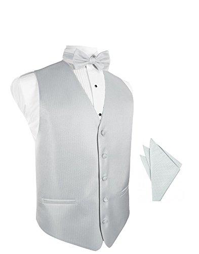 Herringbone Tuxedo Vest (EZ Tuxedo Platinum Herringbone Tuxedo Vest With Bowtie & Pocket Square Set)