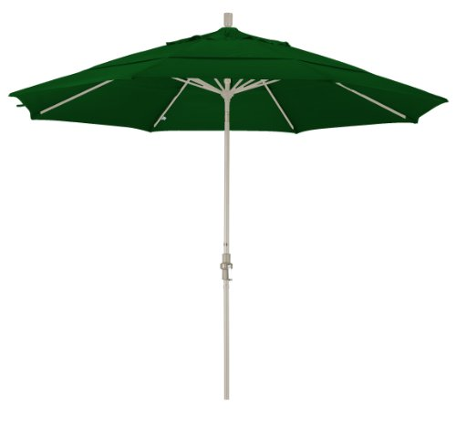 California Umbrella 11' Round Aluminum Market Umbrella, Crank Lift, Collar Tilt, Sand Pole, Hunter Green Olefin
