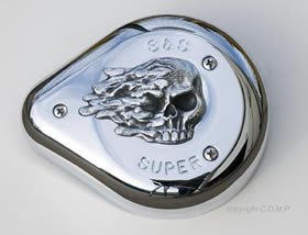 High Polished Skull S&S Air Cleaner Insert. Fits S&S Super E and G Air ()