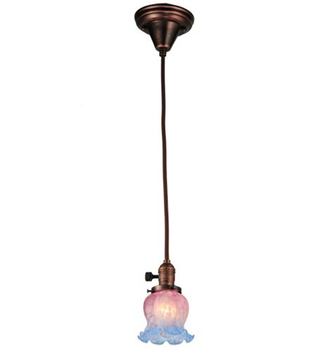 Meyda Tiffany 110415 Chelsea 1-Light Mini-Pendant, Bronze Finish with Pink and Blue Melon Flower Art Glass Shade