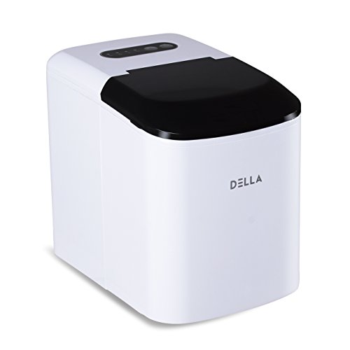 DELLA Portable Ice Maker Machine Compact Counter Top Makes 26 lbs per day Cubes Electric Ice Making w/Scoop, White