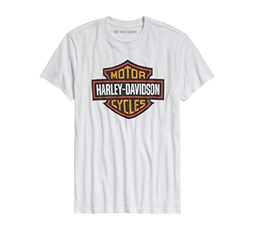 Harley-Davidson Official Men's Logo Slim Fit Tee, White (Large)
