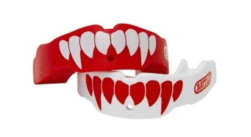 Battle Fangs Football Mouthguard - Sports Mouth Guard with Removable Strap - Protector Mouthpiece Fits With or Without Braces on Teeth - Adult & Youth Mouth Guard Sizes, 2 Pack